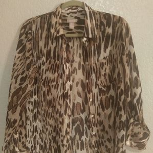 Chico's cheetah print sheer top.